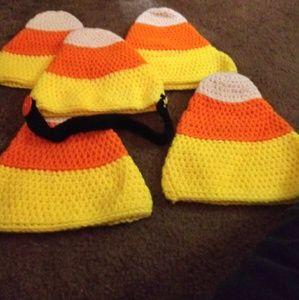 Handmade crocheted candy corn beanies